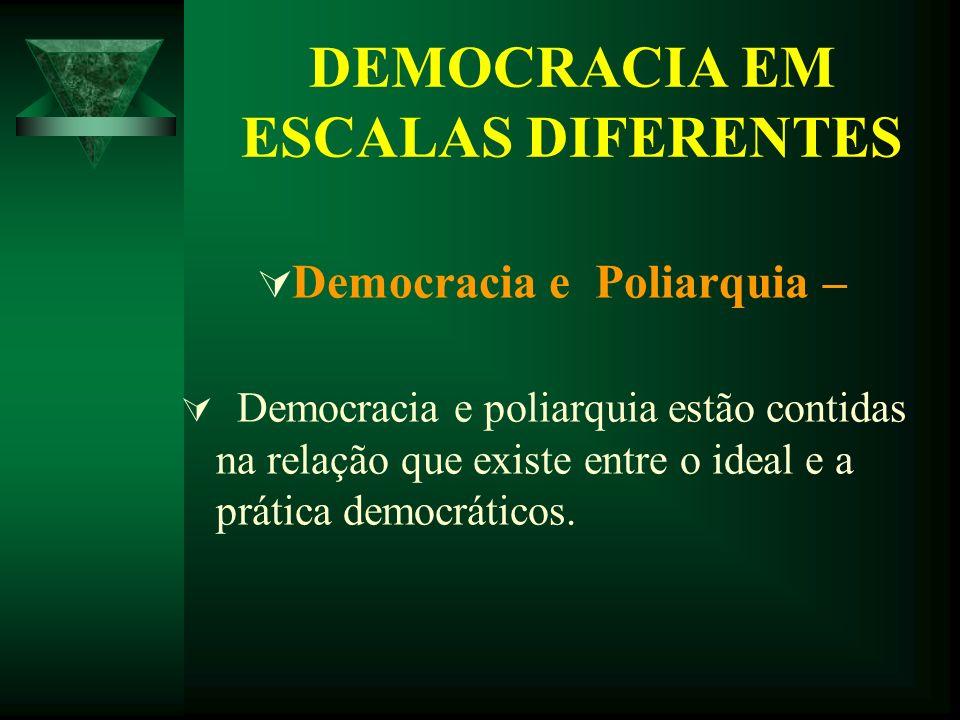 DEMOCRACIA EM ESCALAS DIFERENTES Democracia e Poliarquia – Democracia e poliarquia estão contidas na relação que existe entre o ideal e a prática demo
