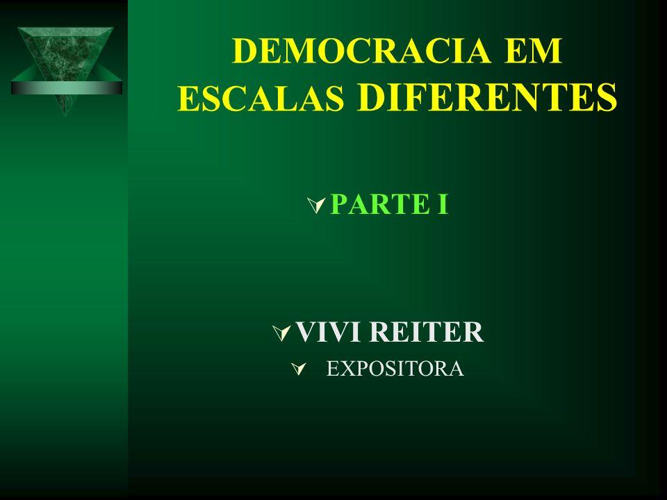 DEMOCRACIA EM ESCALAS DIFERENTES PARTE I VIVI REITER EXPOSITORA