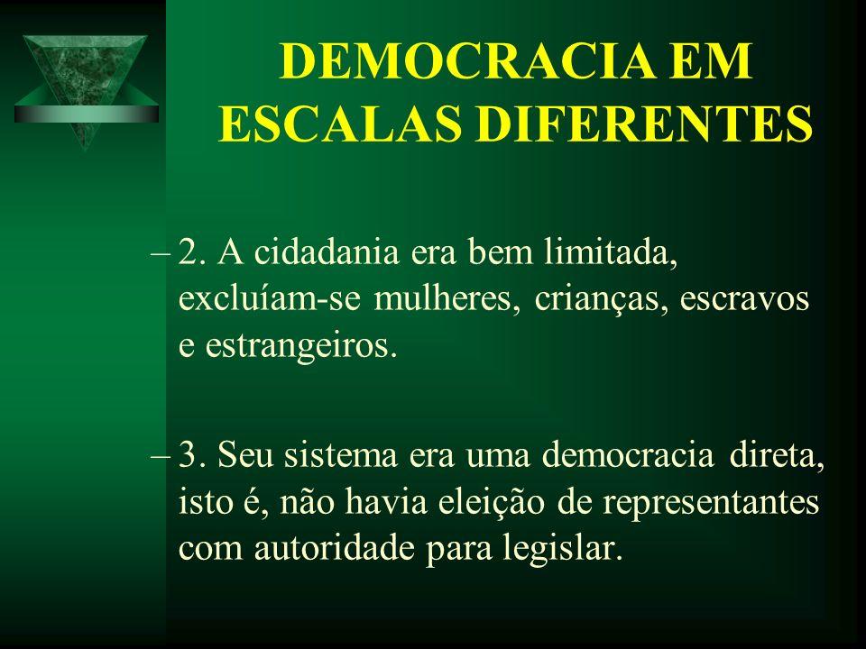 DEMOCRACIA EM ESCALAS DIFERENTES –2. A cidadania era bem limitada, excluíam-se mulheres, crianças, escravos e estrangeiros. –3. Seu sistema era uma de