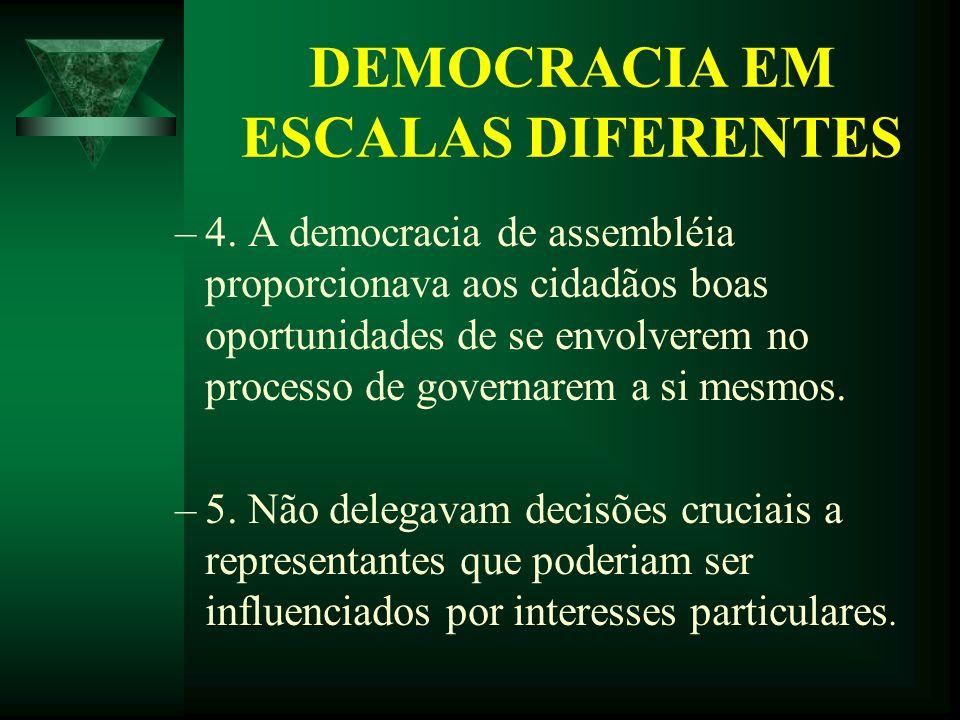 DEMOCRACIA EM ESCALAS DIFERENTES –4. A democracia de assembléia proporcionava aos cidadãos boas oportunidades de se envolverem no processo de governar