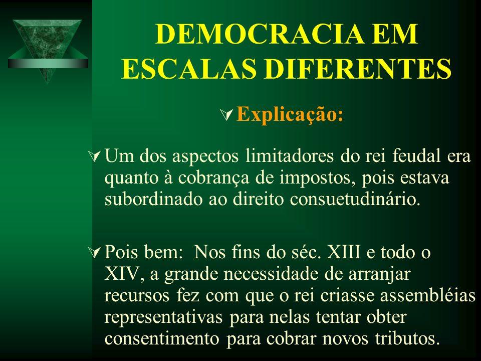 DEMOCRACIA EM ESCALAS DIFERENTES Explicação: Um dos aspectos limitadores do rei feudal era quanto à cobrança de impostos, pois estava subordinado ao d