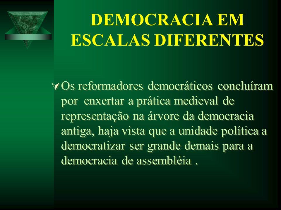 DEMOCRACIA EM ESCALAS DIFERENTES Os reformadores democráticos concluíram por enxertar a prática medieval de representação na árvore da democracia anti