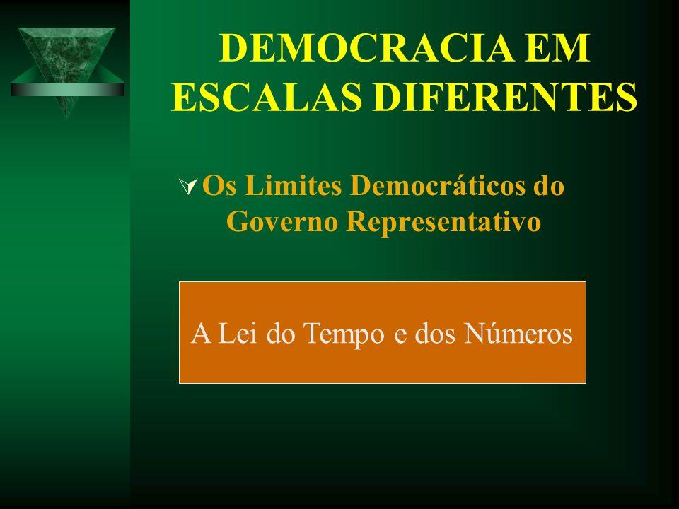 DEMOCRACIA EM ESCALAS DIFERENTES Os Limites Democráticos do Governo Representativo A Lei do Tempo e dos Números