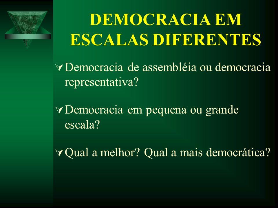 DEMOCRACIA EM ESCALAS DIFERENTES Democracia de assembléia ou democracia representativa? Democracia em pequena ou grande escala? Qual a melhor? Qual a