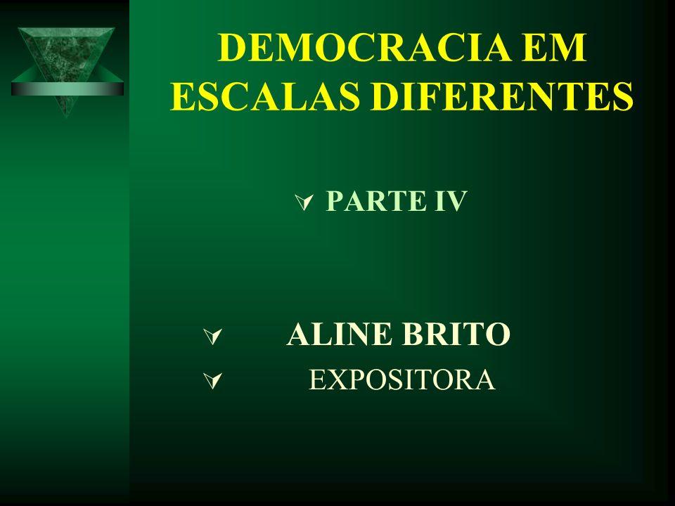 DEMOCRACIA EM ESCALAS DIFERENTES PARTE IV ALINE BRITO EXPOSITORA