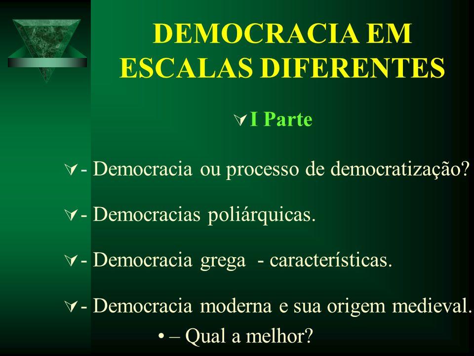 DEMOCRACIA EM ESCALAS DIFERENTES I Parte - Democracia ou processo de democratização? - Democracias poliárquicas. - Democracia grega - características.