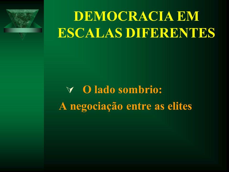 DEMOCRACIA EM ESCALAS DIFERENTES O lado sombrio: A negociação entre as elites