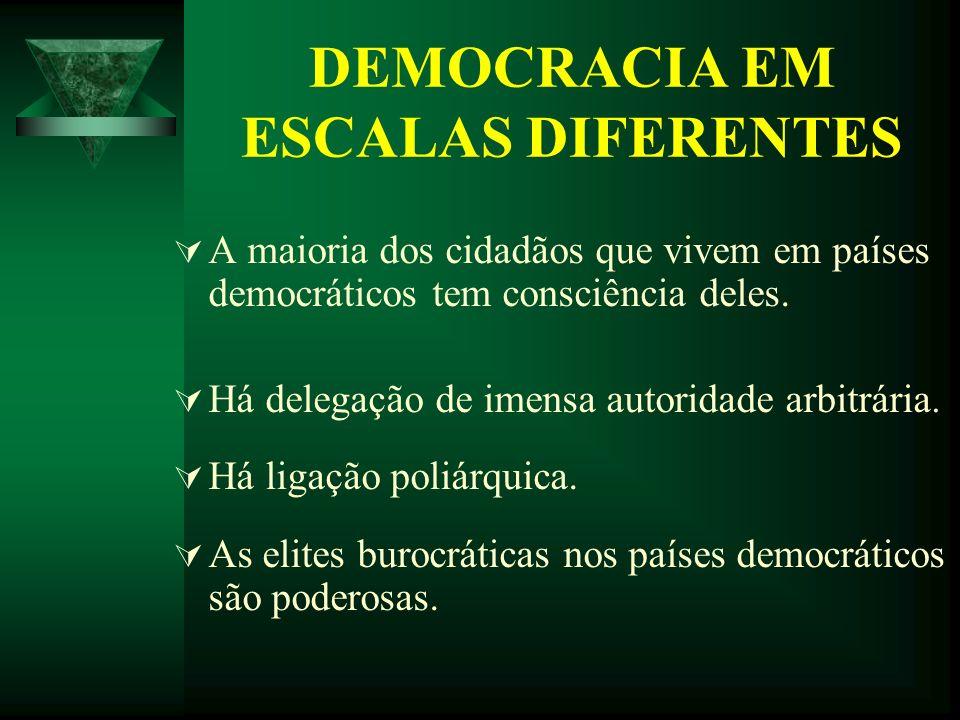 DEMOCRACIA EM ESCALAS DIFERENTES A maioria dos cidadãos que vivem em países democráticos tem consciência deles. Há delegação de imensa autoridade arbi