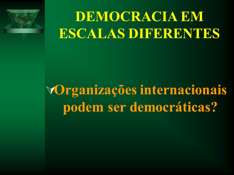 DEMOCRACIA EM ESCALAS DIFERENTES Organizações internacionais podem ser democráticas?