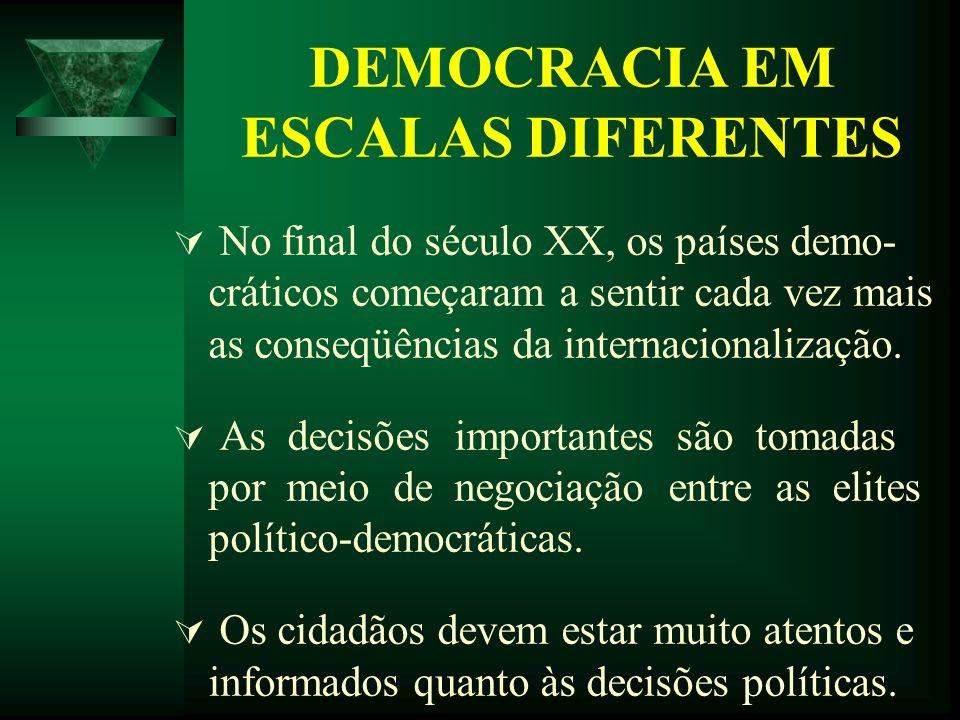 DEMOCRACIA EM ESCALAS DIFERENTES No final do século XX, os países demo- cráticos começaram a sentir cada vez mais as conseqüências da internacionaliza