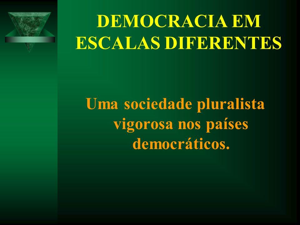 DEMOCRACIA EM ESCALAS DIFERENTES Uma sociedade pluralista vigorosa nos países democráticos.