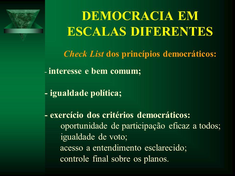 DEMOCRACIA EM ESCALAS DIFERENTES Check List dos princípios democráticos: - interesse e bem comum; - igualdade política; - exercício dos critérios demo