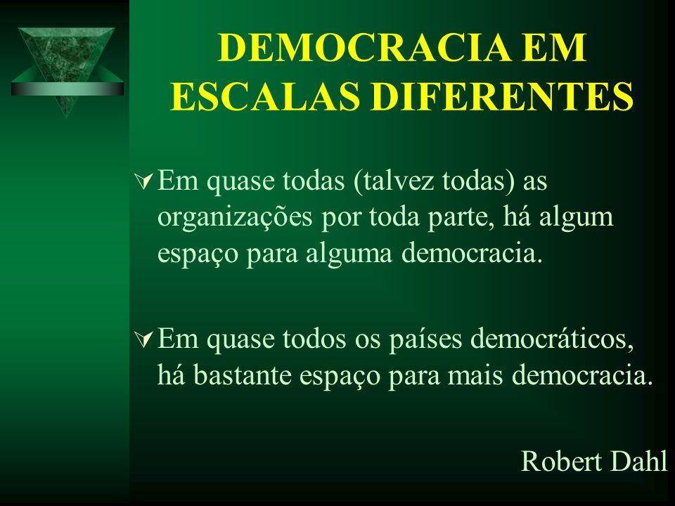 DEMOCRACIA EM ESCALAS DIFERENTES Em quase todas (talvez todas) as organizações por toda parte, há algum espaço para alguma democracia. Em quase todos
