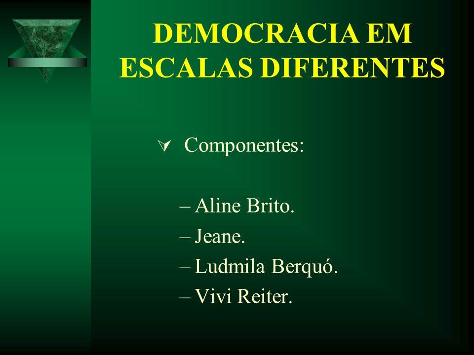 DEMOCRACIA EM ESCALAS DIFERENTES Componentes: –Aline Brito. –Jeane. –Ludmila Berquó. –Vivi Reiter.