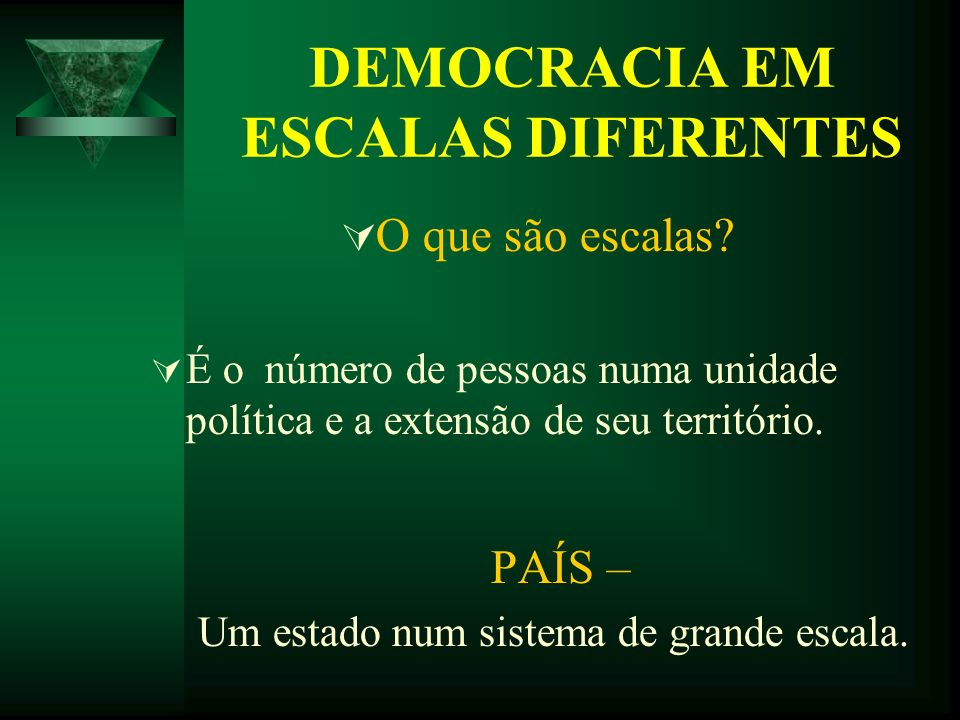 DEMOCRACIA EM ESCALAS DIFERENTES O que são escalas? É o número de pessoas numa unidade política e a extensão de seu território. PAÍS – Um estado num s