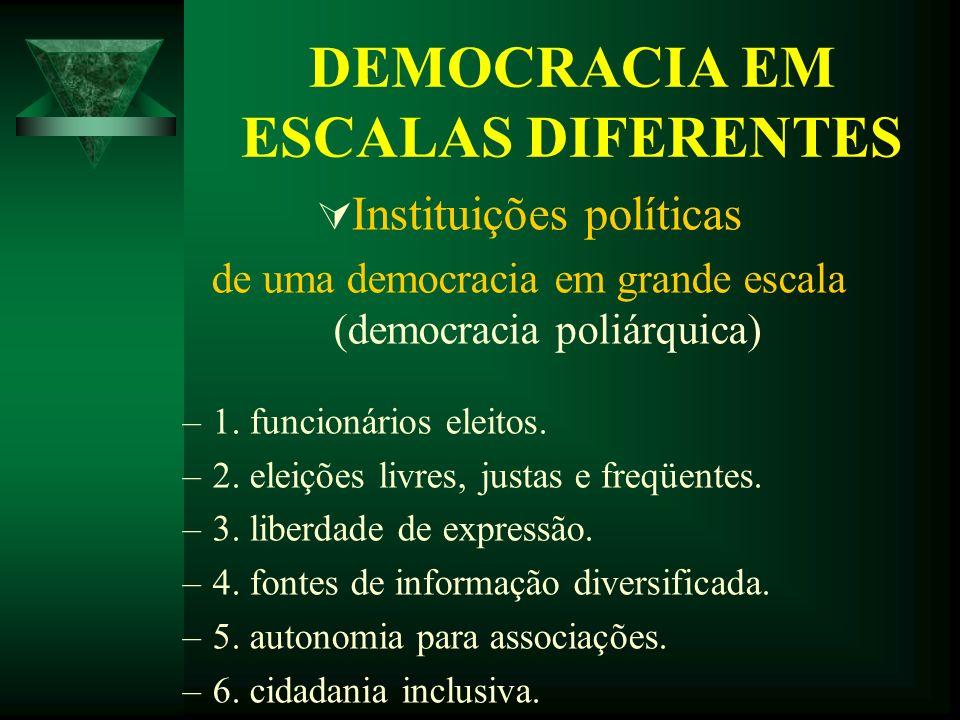 DEMOCRACIA EM ESCALAS DIFERENTES Instituições políticas de uma democracia em grande escala (democracia poliárquica) –1–1. funcionários eleitos. –2–2.