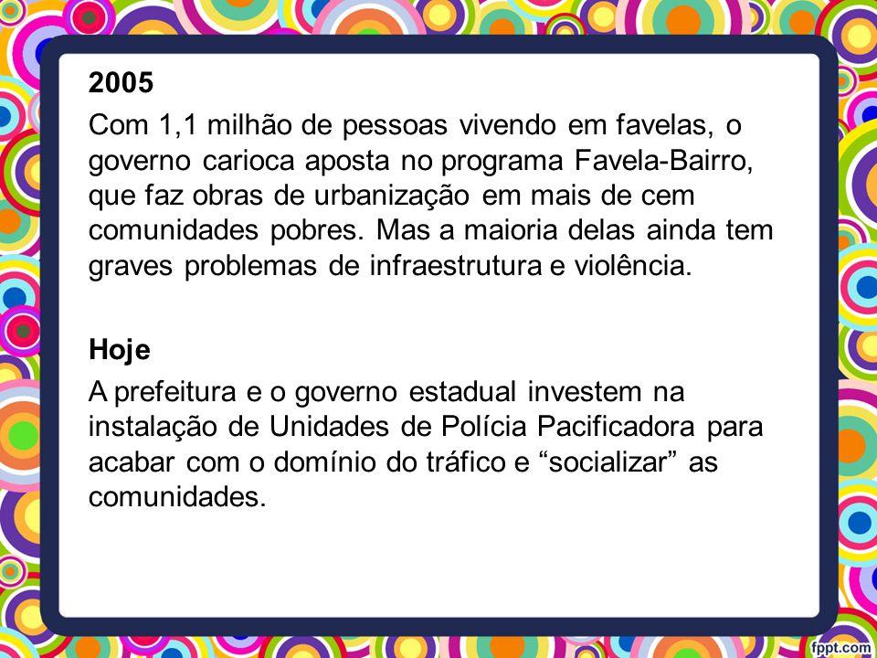 2005 Com 1,1 milhão de pessoas vivendo em favelas, o governo carioca aposta no programa Favela-Bairro, que faz obras de urbanização em mais de cem com