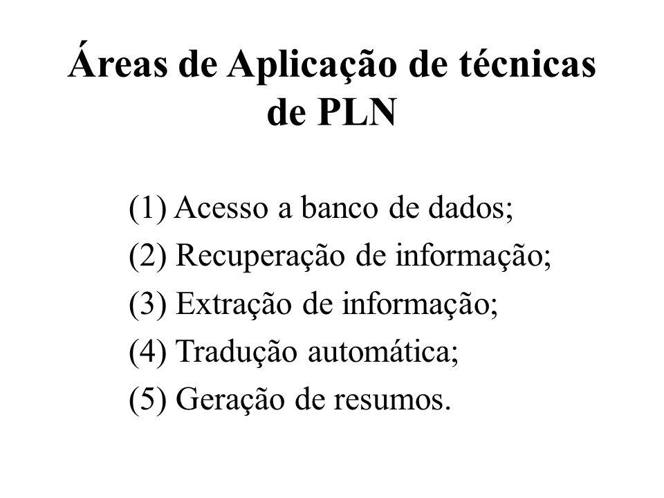 Áreas de Aplicação de técnicas de PLN (1) Acesso a banco de dados; (2) Recuperação de informação; (3) Extração de informação; (4) Tradução automática;