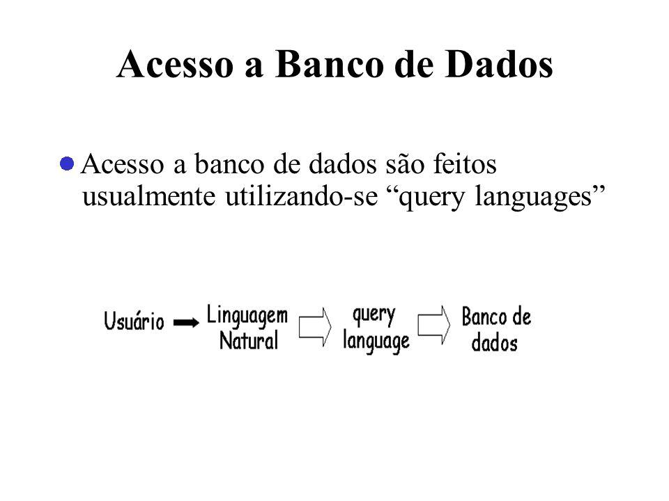 Acesso a Banco de Dados Acesso a banco de dados são feitos usualmente utilizando-se query languages