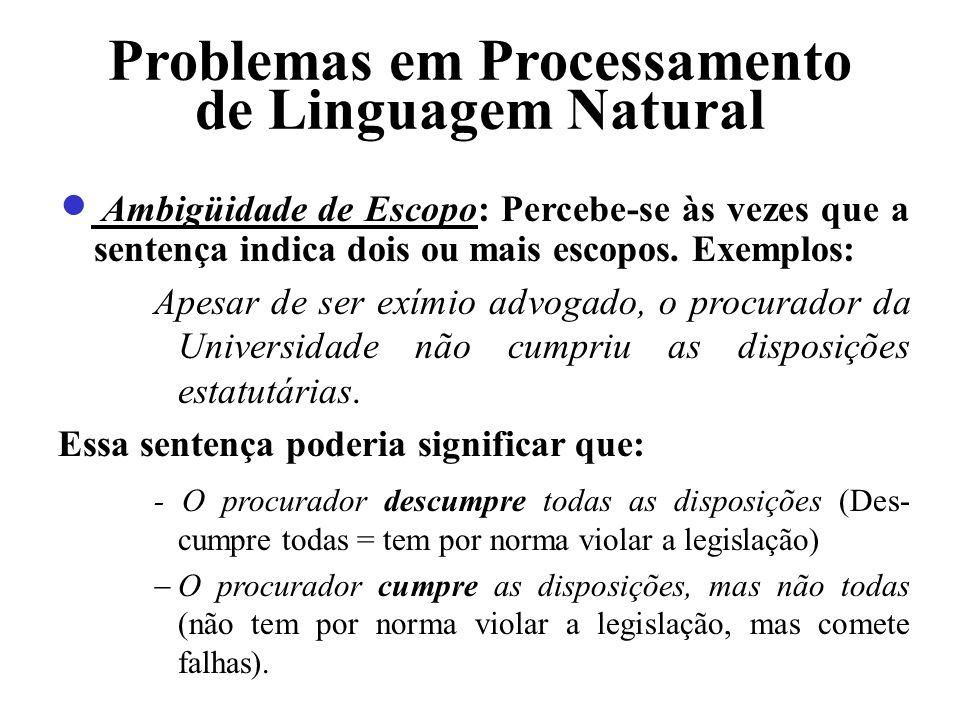 Problemas em Processamento de Linguagem Natural Ambigüidade de Escopo: Percebe-se às vezes que a sentença indica dois ou mais escopos. Exemplos: Apesa