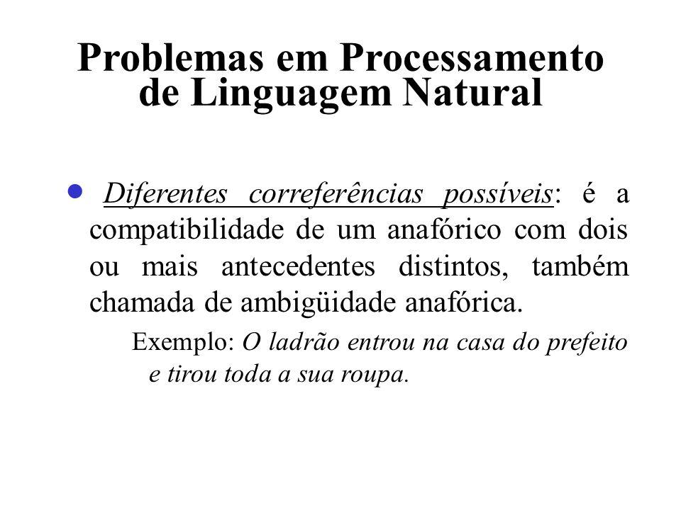 Problemas em Processamento de Linguagem Natural Diferentes correferências possíveis: é a compatibilidade de um anafórico com dois ou mais antecedentes