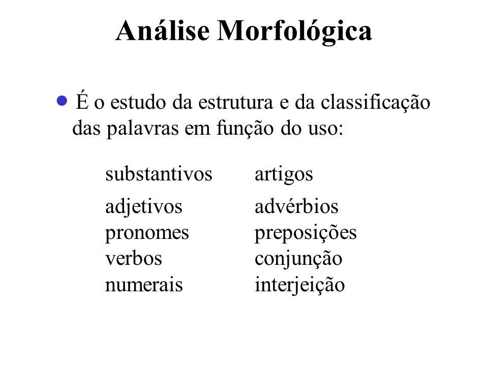 Análise Morfológica É o estudo da estrutura e da classificação das palavras em função do uso: substantivos artigos adjetivos advérbios pronomes prepos