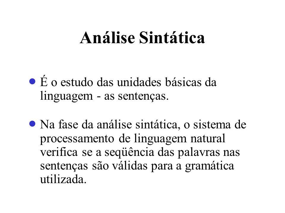 Análise Sintática É o estudo das unidades básicas da linguagem - as sentenças. Na fase da análise sintática, o sistema de processamento de linguagem n