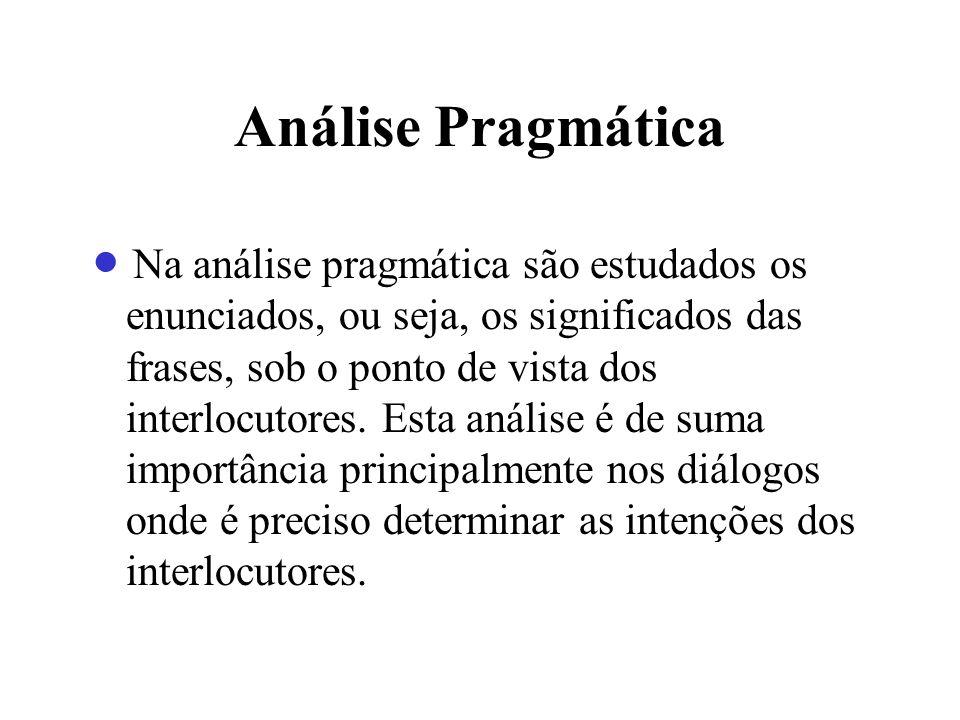 Análise Pragmática Na análise pragmática são estudados os enunciados, ou seja, os significados das frases, sob o ponto de vista dos interlocutores. Es