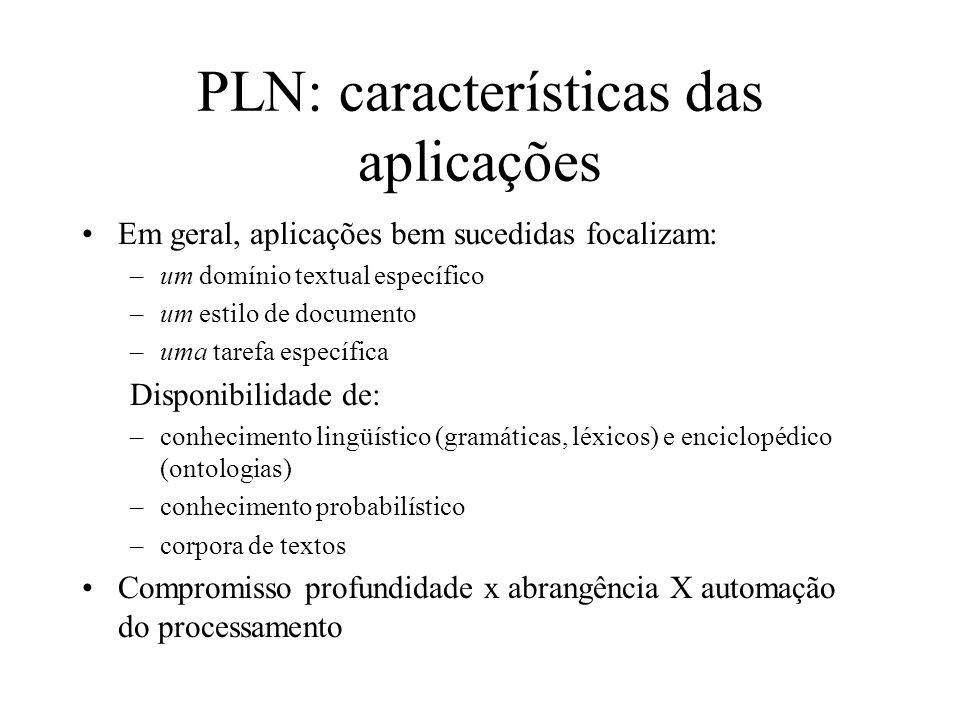 PLN: características das aplicações Em geral, aplicações bem sucedidas focalizam: –um domínio textual específico –um estilo de documento –uma tarefa e