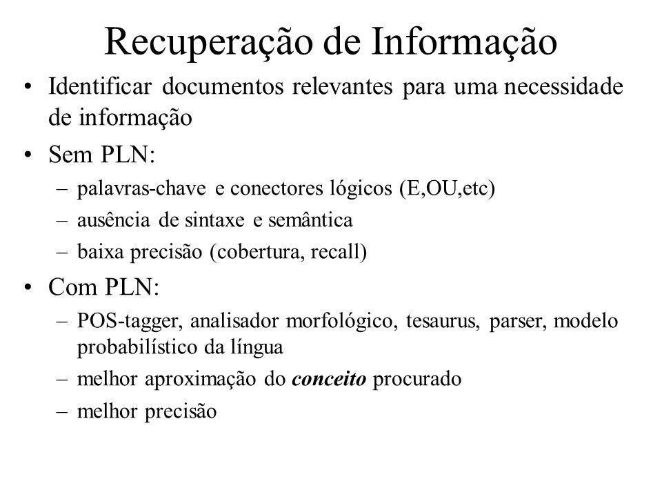 Recuperação de Informação Identificar documentos relevantes para uma necessidade de informação Sem PLN: –palavras-chave e conectores lógicos (E,OU,etc
