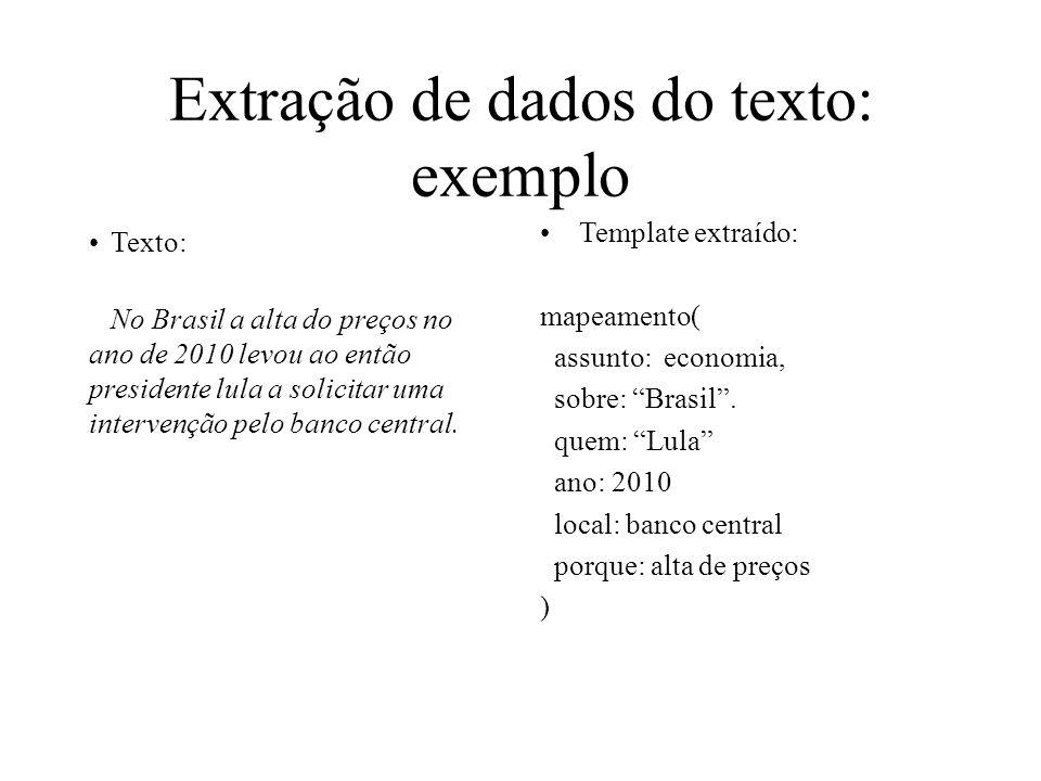 Extração de dados do texto: exemplo Texto: No Brasil a alta do preços no ano de 2010 levou ao então presidente lula a solicitar uma intervenção pelo b