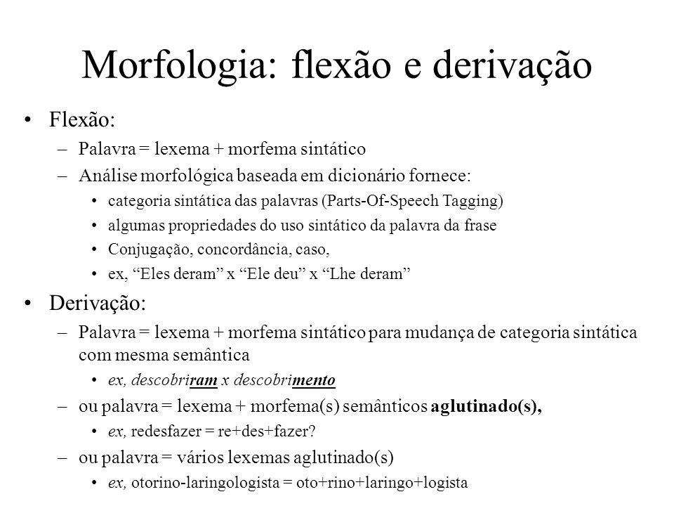 Morfologia: flexão e derivação Flexão: –Palavra = lexema + morfema sintático –Análise morfológica baseada em dicionário fornece: categoria sintática d