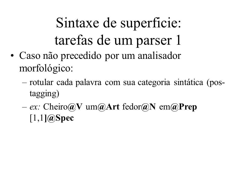 Sintaxe de superficie: tarefas de um parser 1 Caso não precedido por um analisador morfológico: –rotular cada palavra com sua categoria sintática (pos