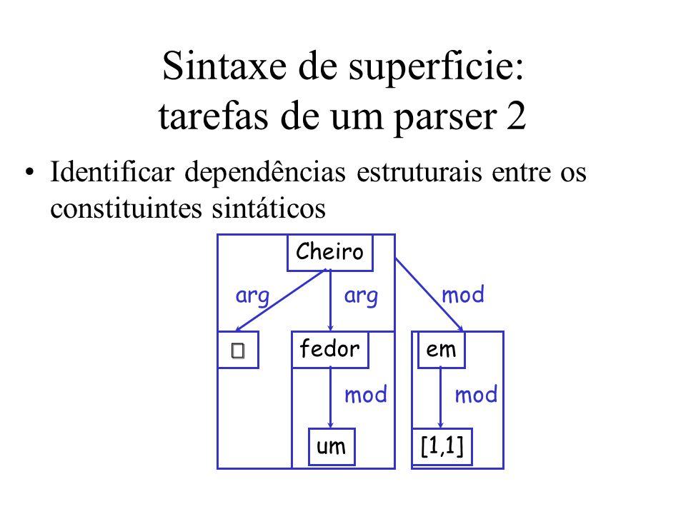 Sintaxe de superficie: tarefas de um parser 2 Identificar dependências estruturais entre os constituintes sintáticos Cheiro fedor um em [1,1] arg mod