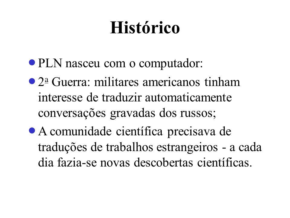 Histórico PLN nasceu com o computador: 2 a Guerra: militares americanos tinham interesse de traduzir automaticamente conversações gravadas dos russos;