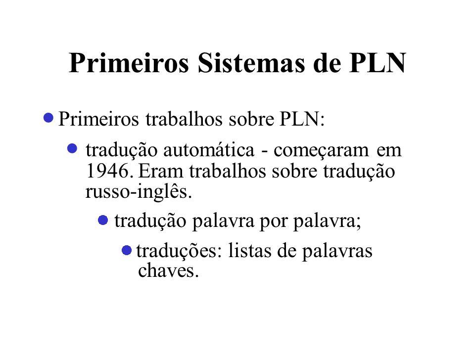 Primeiros Sistemas de PLN Primeiros trabalhos sobre PLN: tradução automática - começaram em 1946. Eram trabalhos sobre tradução russo-inglês. tradução