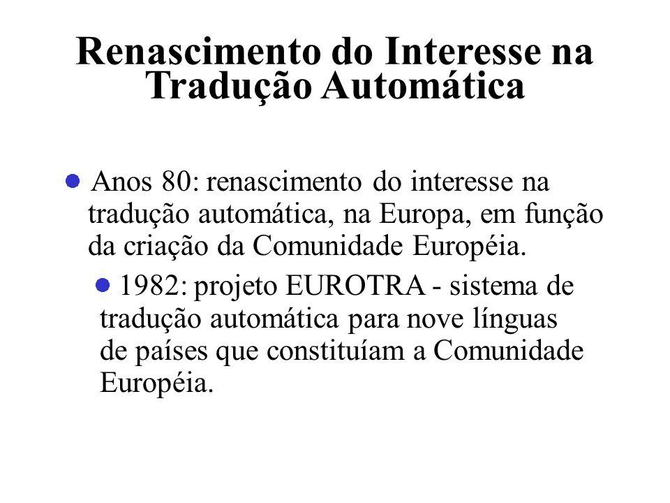 Renascimento do Interesse na Tradução Automática Anos 80: renascimento do interesse na tradução automática, na Europa, em função da criação da Comunid