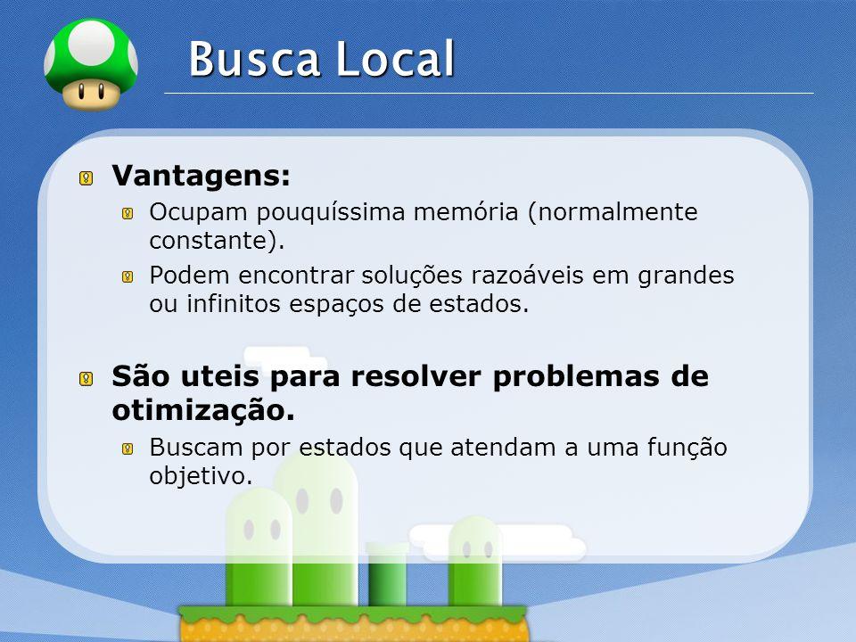 LOGO Busca Local Vantagens: Ocupam pouquíssima memória (normalmente constante). Podem encontrar soluções razoáveis em grandes ou infinitos espaços de