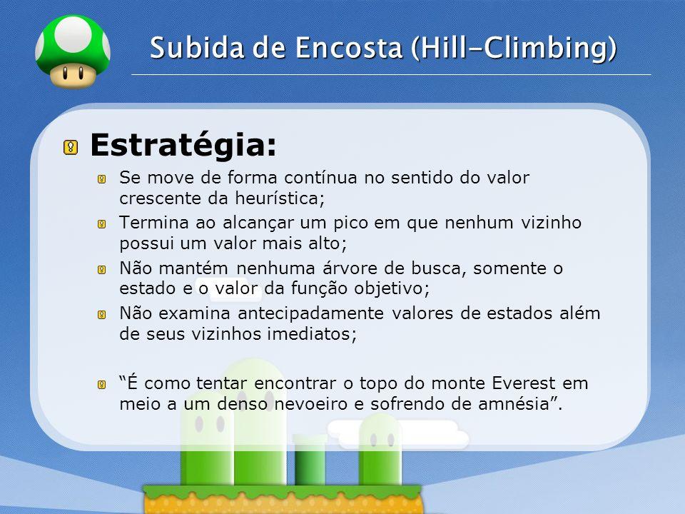 LOGO Subida de Encosta (Hill-Climbing) Estratégia: Se move de forma contínua no sentido do valor crescente da heurística; Termina ao alcançar um pico