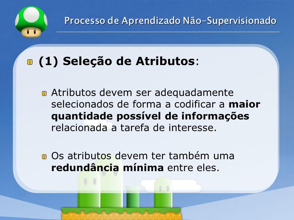 LOGO Processo de Aprendizado Não-Supervisionado (1) Seleção de Atributos: Atributos devem ser adequadamente selecionados de forma a codificar a maior