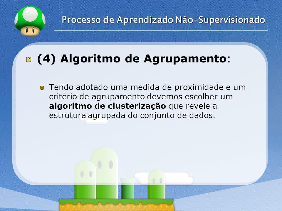 LOGO Processo de Aprendizado Não-Supervisionado (4) Algoritmo de Agrupamento: Tendo adotado uma medida de proximidade e um critério de agrupamento dev