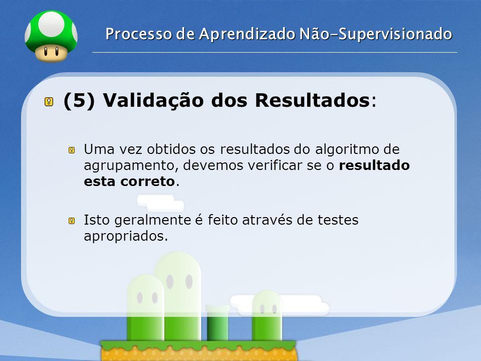 LOGO Processo de Aprendizado Não-Supervisionado (5) Validação dos Resultados: Uma vez obtidos os resultados do algoritmo de agrupamento, devemos verif
