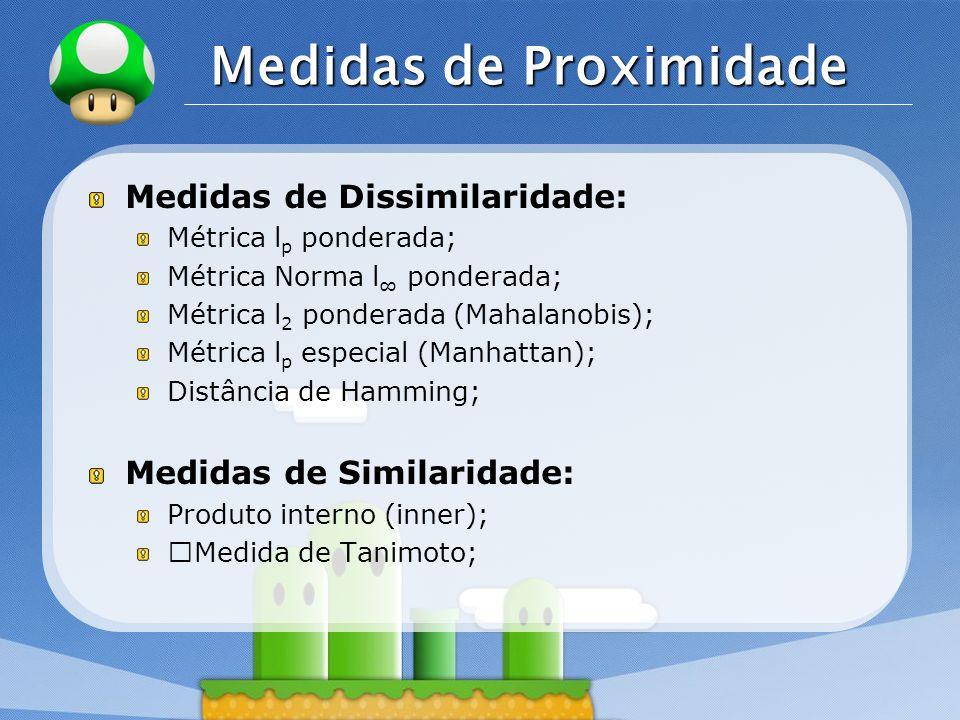 LOGO Medidas de Proximidade Medidas de Dissimilaridade: Métrica l p ponderada; Métrica Norma l ponderada; Métrica l 2 ponderada (Mahalanobis); Métrica