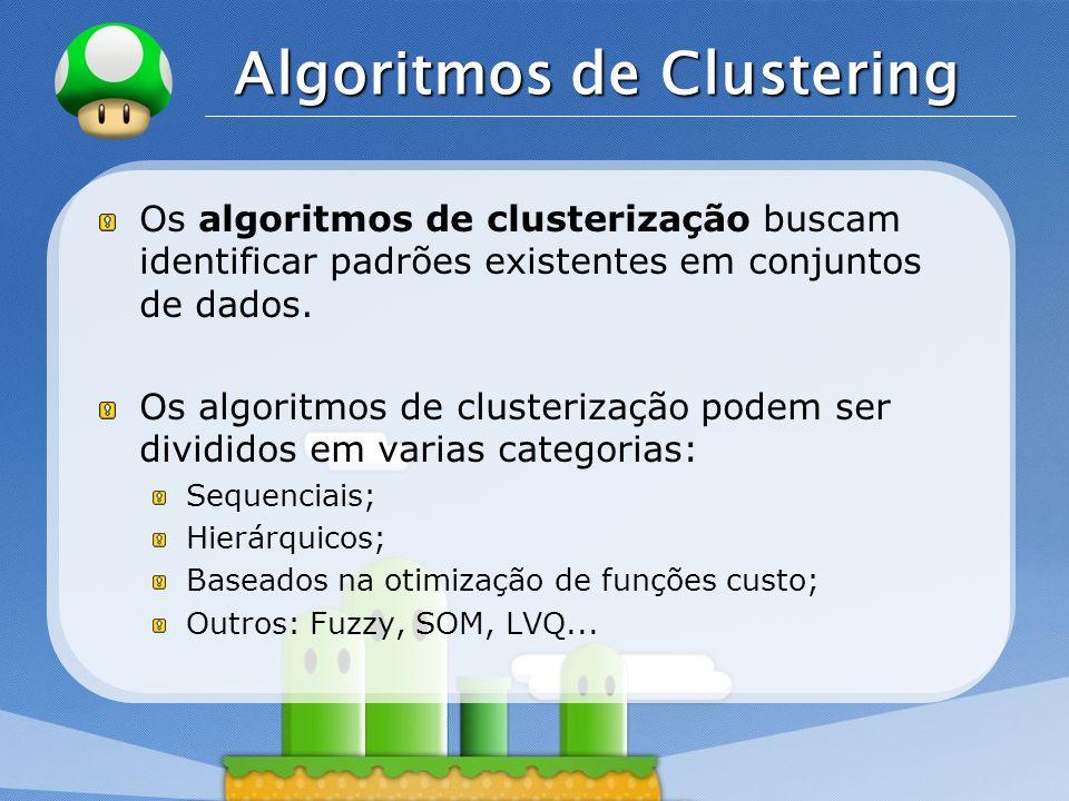 LOGO Algoritmos de Clustering Os algoritmos de clusterização buscam identificar padrões existentes em conjuntos de dados. Os algoritmos de clusterizaç