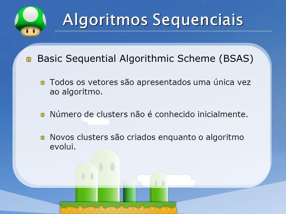 LOGO Algoritmos Sequenciais Basic Sequential Algorithmic Scheme (BSAS) Todos os vetores são apresentados uma única vez ao algoritmo. Número de cluster
