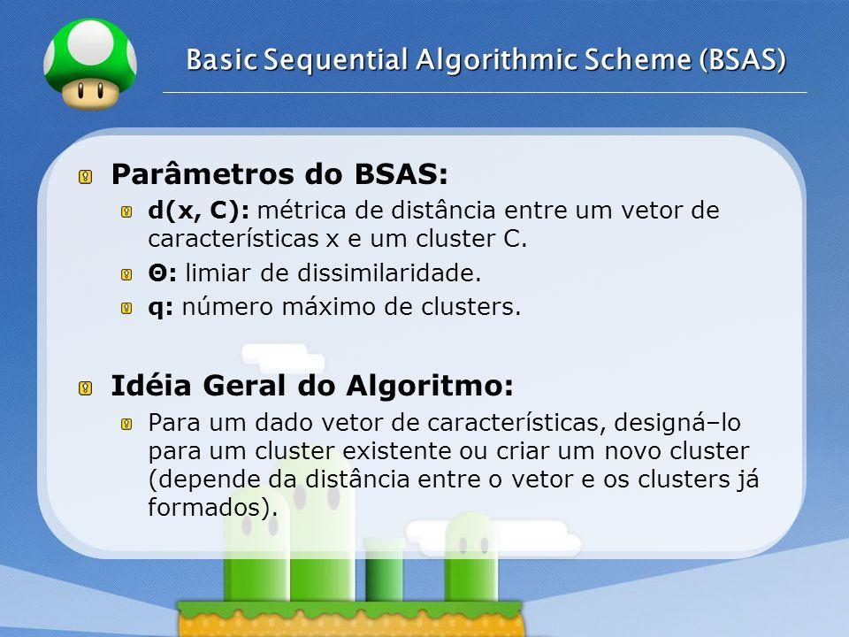 LOGO Basic Sequential Algorithmic Scheme (BSAS) Parâmetros do BSAS: d(x, C): métrica de distância entre um vetor de características x e um cluster C.