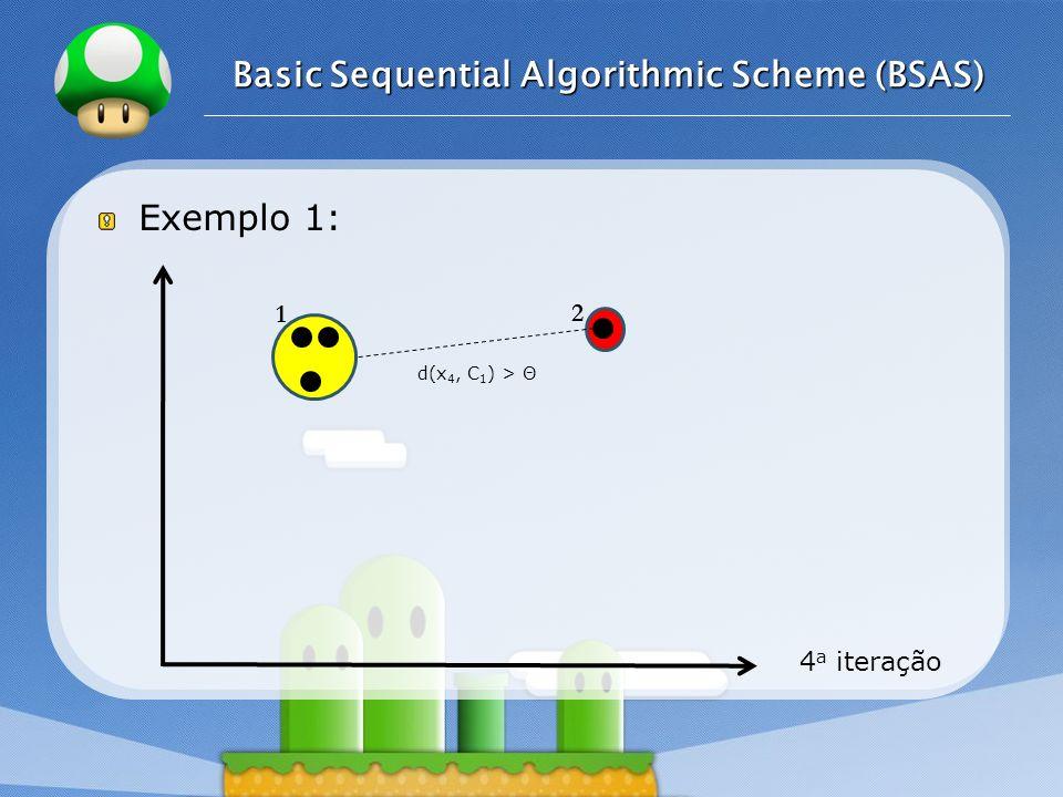 LOGO Exemplo 1: 4 a iteração Basic Sequential Algorithmic Scheme (BSAS) 1 2 d(x 4, C 1 ) > Θ
