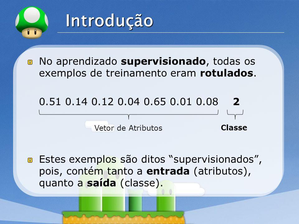 LOGO Introdução No aprendizado supervisionado, todas os exemplos de treinamento eram rotulados. 0.51 0.14 0.12 0.04 0.65 0.01 0.08 2 Estes exemplos sã