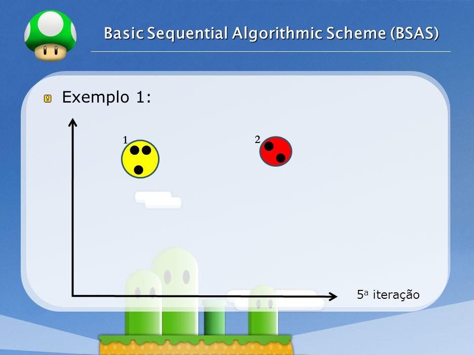 LOGO Exemplo 1: 5 a iteração Basic Sequential Algorithmic Scheme (BSAS) 1 2