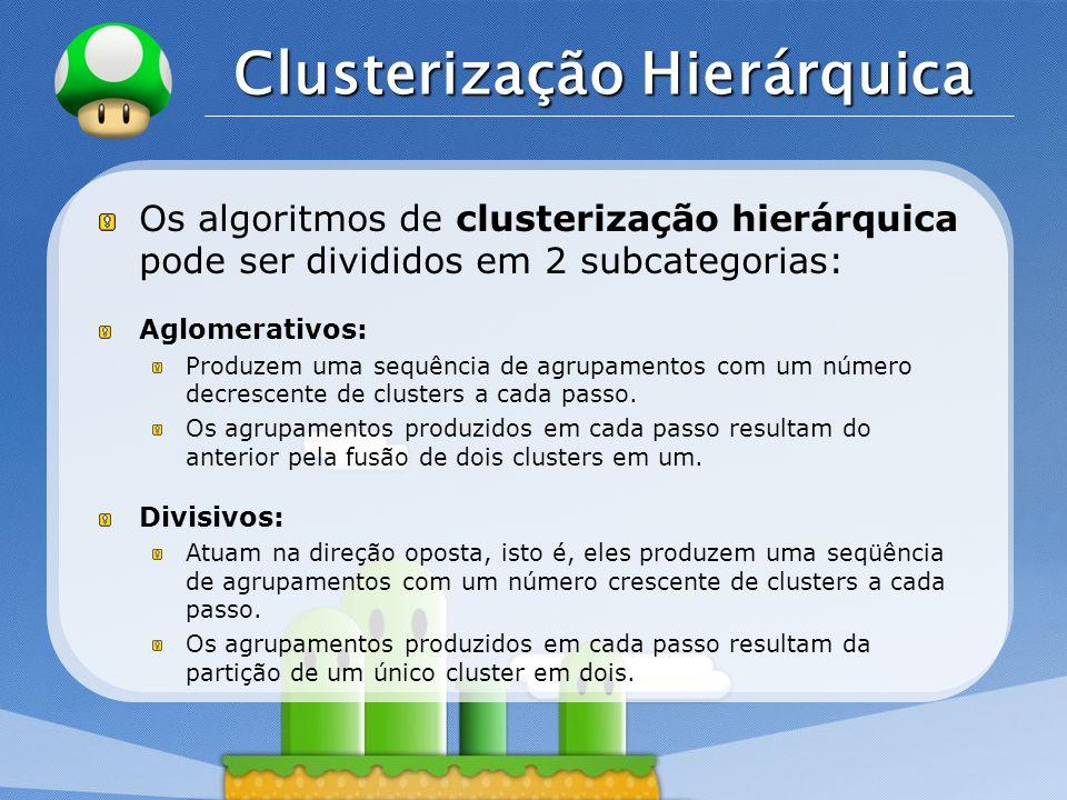 LOGO Clusterização Hierárquica Os algoritmos de clusterização hierárquica pode ser divididos em 2 subcategorias: Aglomerativos: Produzem uma sequência